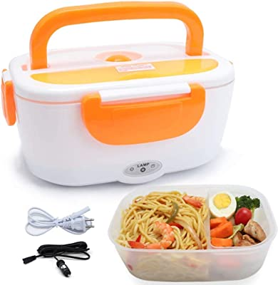 Electric Lunch Box 2 in 1, Portable Food Warmer Heating,Food-Grade Container, 12V 110V 40W Adapter, Car Truck Home Work Use, Spoon and 2 Compartments Included (orange)