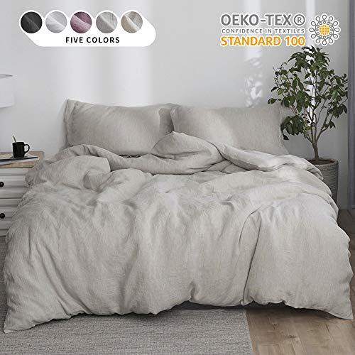 Simple&Opulence 100% Linen Duvet Cover Set 3pcs Stone Washed Natural Belgian Flax Basic Style Solid Color French Bedding with Button Closure (Queen, Linen)