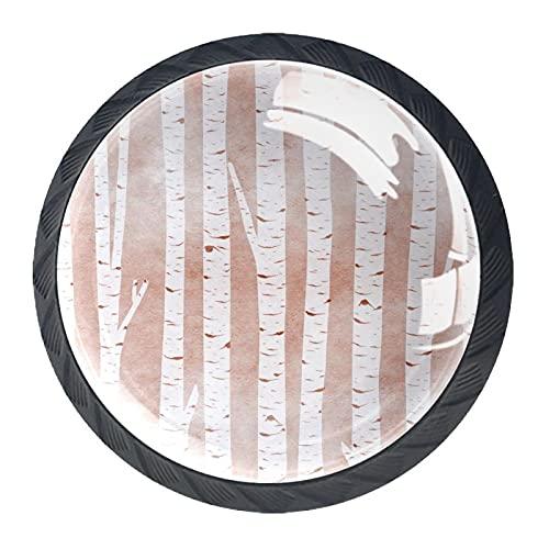 BestIdeas Okrągłe gałki do szuflad 4 opakowania uchwyty 30 mm brzoza białe nadruki vintage używane do sypialni komoda szafki szafki drzwi kuchenne