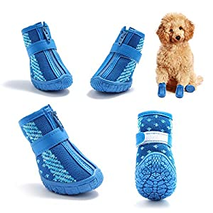 Hcpet Breathable Dog Boots TPR Rubber Non-Slip Durable Small Dog Shoes with Zipper Paw Protectors for Outdoor Hiking and Running 4PCS