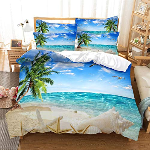 MANXI 3D Sea Beach and Seashell Set di biancheria da letto copripiumino blu oceano Island 3 pezzi set copripiumino matrimoniale
