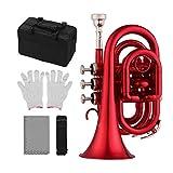 JJmooer Mini trompeta de bolsillo Bb Material de latón plano Instrumento de viento con boquilla Guantes Paño de limpieza Estuche de transporte