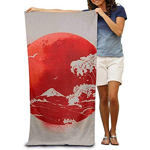 utong Toallas de Playa 100% algodón 80x130cm Toalla de Secado rápido para Nadadores Banderas Bandera de Japón Manta de Playa