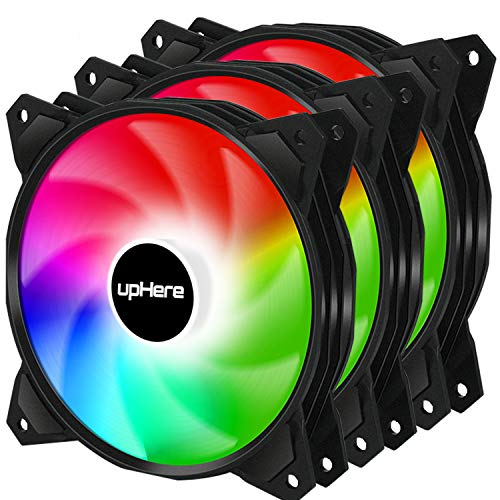 upHere 4PIN PWM 120mm Rainbow LED Computer Case PC Cooling Fan Ultra Quiet High Airflow for Computer...