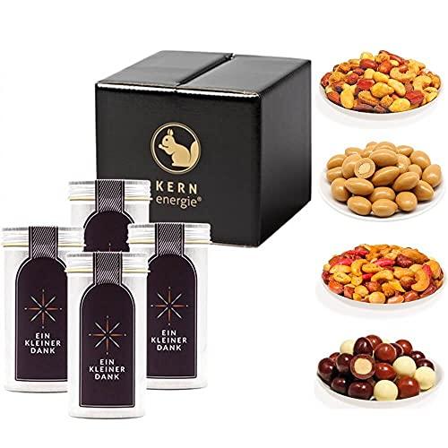 KERNenergie Geschenkset Kleiner Dank (400g) – 4x frisch geröstete und schokolierte Nüsse aus den besten Anbaugebieten der Welt zum Dankesagen