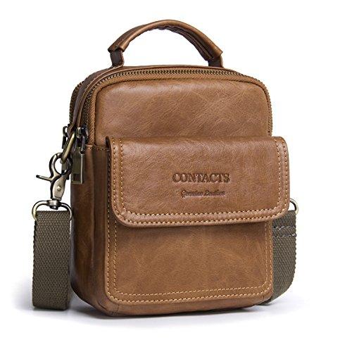 Contacts Echtes Leder Männer Messenger Crossbody Schultertasche Reise Handtasche (Brown)