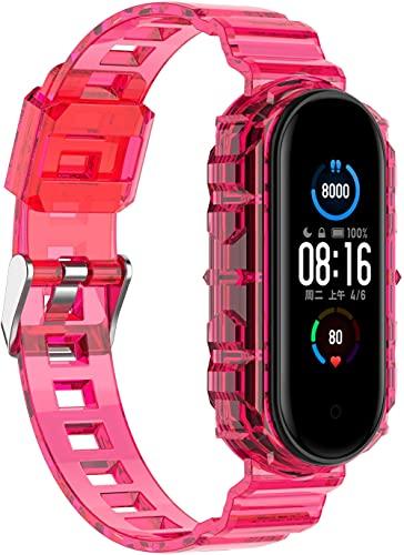 Chainfo Correa de Reloj Recambios Correa Relojes Caucho compatible con Xiaomi Mi Band 5 / Xiaomi Mi Band 6 / Amazfit Band 5 - Silicona Correa Reloj con Hebilla (Pattern 2)
