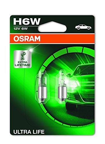 OSRAM ULTRA LIFE H6W, Lámpara halógena, luz de estacionamiento y de posición, 64132ULT-02B, automóvil de 12 V, ampolla doble (2 unidades)