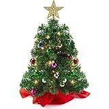 Almabbg Mini árbol de Navidad, árbol de Navidad de mesa de 24 pulgadas con luces LED y adornos de bricolaje, árbol de Navidad artificial de PVC pequeño para decoración de oficina en casa