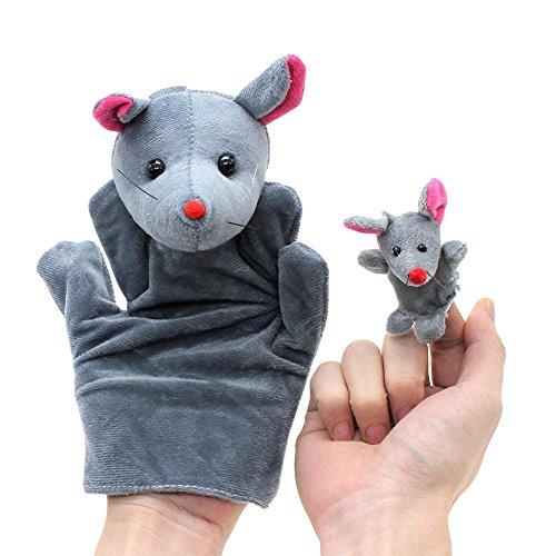VANKER 2Pcs Cartoon Biologique Jouet Marionnette de Doigt Peluche Modèle Rat Grand + Petit