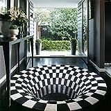 ZZFF Alfombra de área Redonda, Alfombra Impresa de Terciopelo Alfombrilla Antideslizante Alfombra Shaggy de ilusión Visual 3D para lvining Decoración de Dormitorio Diámetro Redondo: 100 cm