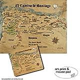 1art1 Camino De Santiago De Compostela, El Camino De Santiago Anno 1445, Jon Mellenthin 1 Póster Impresión Artística (50x40 cm) + 1 Alfombrilla para Ratón (23x19 cm) Set Regalo