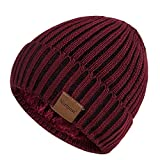 Nertpow Beanie Hat for Men and Women, Winter Warm Fleece Lined Thermal Trendy Thick Knit Skull Cable Cuff Cap (Stripe Burgundy&Black)