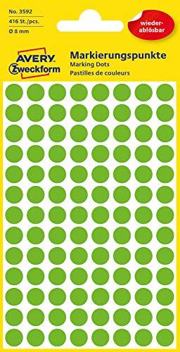 AVERY Zweckform 3592 selbstklebende Markierungspunkte (Ø 8 mm, 416 ablösbare Klebepunkte auf 4 Bogen, runde Aufkleber für Kalender, Planer und zum Basteln, Papier, matt) grün