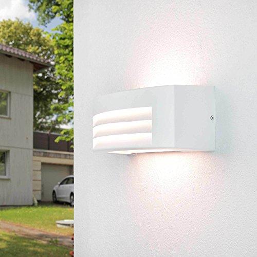 Moderne Wandleuchte Up Down 29cm breit wetterfest E27 FLANDERN Außenlampe Weiß Balkon Haus Tür Hof