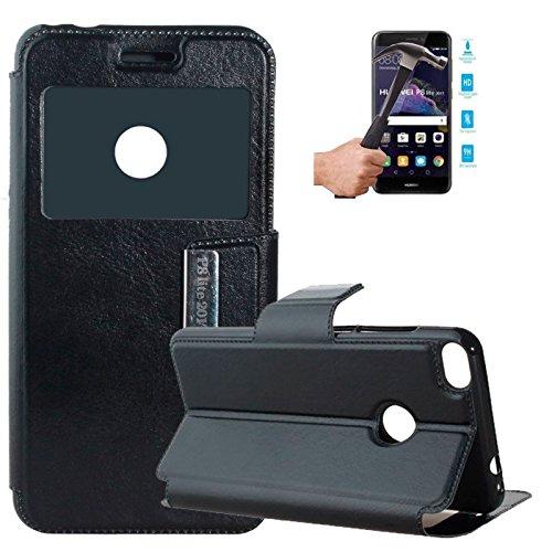 Todobarato24h Funda Libro Ventana Compatible con Huawei P8 Lite 2017 5.2 (4G) Negra + Protector DE Cristal Templado