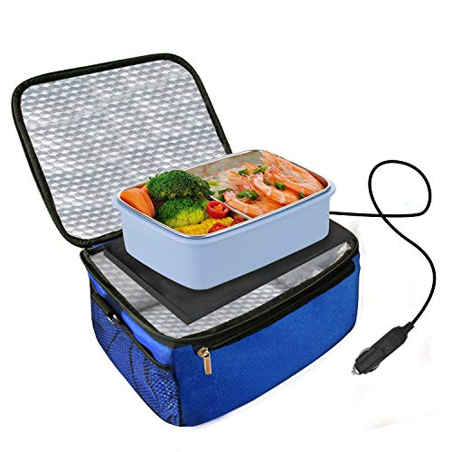 Car Food Warmer Portable 12V Personal Oven Heat Lunch Box with Adjustable/Detachable shoulder strap, Using for Work/Picnic/Road Trip, Electric Slow Cooker for Food (Blue)