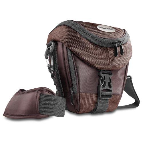 Mantona Colt DSLR Kamera Tasche für Spiegelreflex, SLR, Kompaktkamera, Systemkamera, Schultertasche Umhängetasche mit Platz für Zubehör, wasserdicht, braun