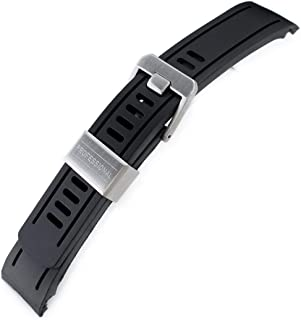 22mm Crafter Blue - Black Rubber Curved Lug Watch Band for Seiko SKX007