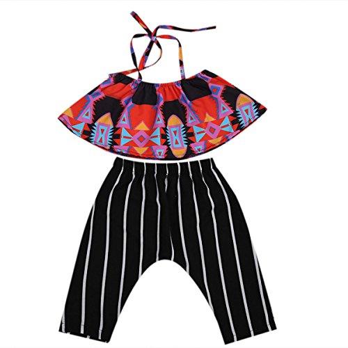Wide.ling 2 stks Set Kleine Baby Meisje Hot Halter Tops Zwart Harem Broek Outfit Set Kleding