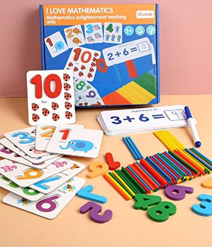 Cuatro juegos de rompecabezas matemáticos, juegos matemáticos, memoria,matemática,cómics divertidos,juguetes de cálculo preescolar Montessori STEM,adecuados para niños 3 años en adelante (151 piezas)