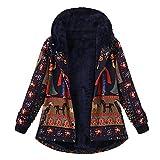 OIKAY Damen Kapuzenmantel Outwear Winter Lose Baumwolle Warm Printed Taschen Dicker Haspe
