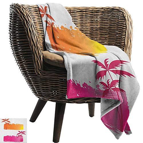 ZSUO babydeken Oranje en Roze, Grungy Achtergronden met tropische palmbomen en Halftone elementen Oranje en Roze Gezellige en Duurzame Fabric-Machine Wasbaar