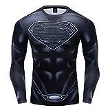 GYM GALA Superman Classic Logo Men's 3D Printed Compression Sport Fitness T-Shirt (3XL, Black B)