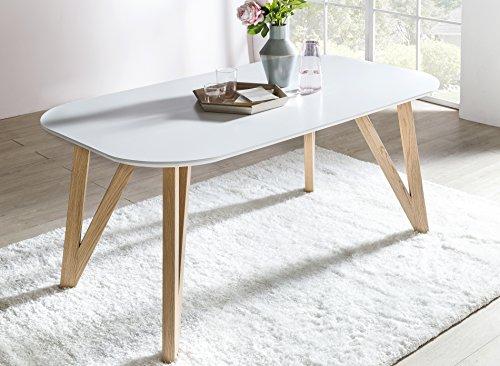 SalesFever Esszimmertisch Aino, Küchentisch in matt-weiß, 160 x 90 cm, furnierter Esstisch, pflegeleichter & Abgerundeter Holz-Tisch, FSC® Zertifiziert
