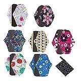 Serviettes hygièniques lavables Covermason Bambou réutilisables lingette lavable menstruel serviette hygiénique de Pad Mama (L, 7PCS)