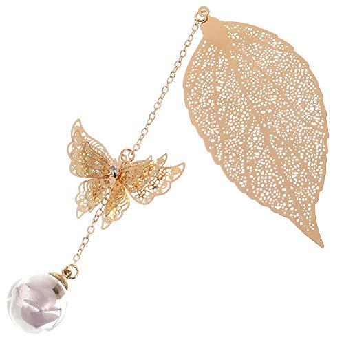 FANCYLEO EU - Segnalibro a forma di foglia in metallo, con farfalla 3D e perline di vetro, ciondolo eterno a forma di fiore secco, in confezione regalo ideale per lettori, donne e bambini