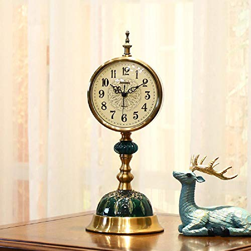 Reloj de escritorio retro péndulo de escritorio para el hogar, reloj de escritorio sentado reloj de sala de estar reloj de péndulo atmosférico, cobre