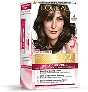 L'Oreal Paris Excellence Creme Hair Color, 4 Natural Brown, 72ml+100g
