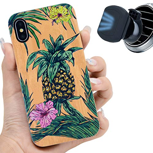 iProductsUS Wood Phone Case Compatible with iPhone Xs, X (10) and Magnetic Mount, UV Print Pineapple Cases, Built-in Metal Plate, Wireless Charging Compatible, TPU Protective Cover (5.8 inch)