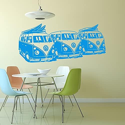 3 Surf Vans Hippie Coche Mar Playa Viaje Viaje Mini Bus Tabla de surf Ola Surf Vinilo Etiqueta de la pared Calcomanía Dormitorio Surf Shop Club Decoración para el hogar Mural
