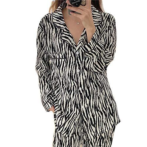 Conjunto de Ropa de Dormir de Primavera y otoño Ropa de hogar para Mujer Pijamas con Estampado de Cebra para Mujer Pijama de Invierno