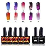 Thermo Nagellack UV Farben Set UV Nagellack Gellack Set 10 Farben Thermo UV/LED Lacken mit Top&Base Coat