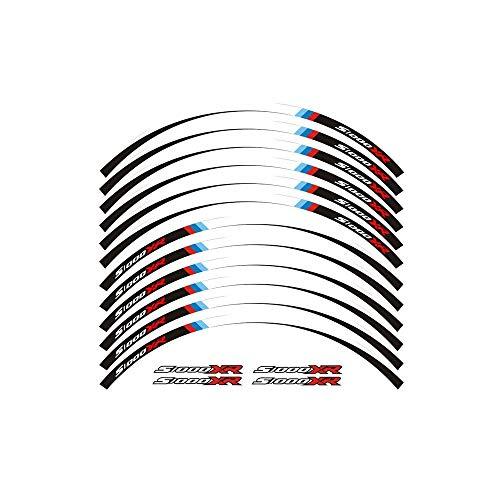 Un conjunto de rueda de la motocicleta 12pcs alta calidad decals pegatinas reflectantes impermeables llanta rayas for BMW S1000XR pegatinas moto (Color : B)