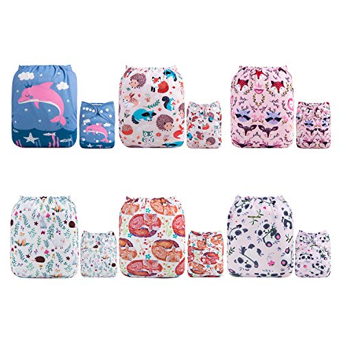 ALVABABY Reuseable Washable Pocket Cloth Diapers 6PCS + 12 Inserts Gift Sets 6DM21