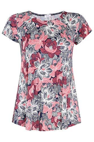 PAPRIKA Damen große Größen Tunika-T-Shirt aus plissiertem Gewebe mit Lotusblumen-Print V-Ausschnitt Kurze Ärmel