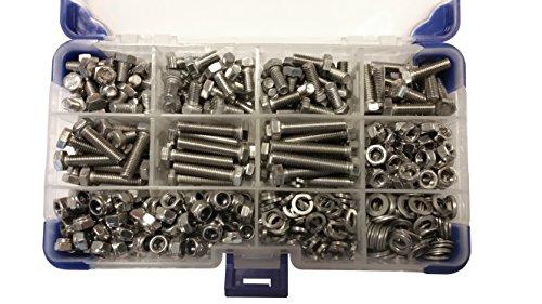 Ahc K-10059 - In acciaio inox viti esagonali m6 con dadi e rondelle (360 pezzi)