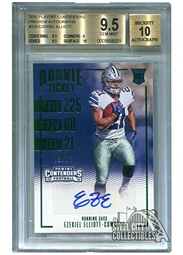 Ezekiel Elliott 2016 Panini Playoff Contenders Preview Auto Rookie 3/22 -BGS 9.5 - Football Slabbed Autographed Rookie Cards