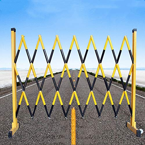 Construction Barricade Fence, Retractable Partition with Wheels, Folding Barricade for Crowd Control, Insulation Stainless Steel Material,1.2x7m