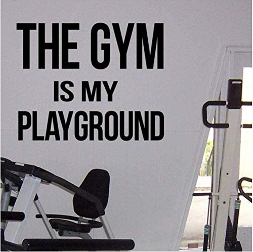 Gimnasio citas inspiradoras gimnasio es mi patio de recreo calcomanías de vinilo gimnasio pegatinas de pared gimnasio en casa ejercicio interior mural de pared 53X42Cm