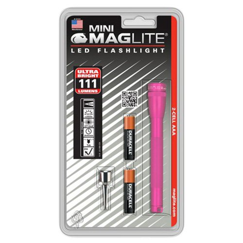 MagLite Mini LED 111 lm Compact 2 AAA Cell Alkaline, Hot Pink