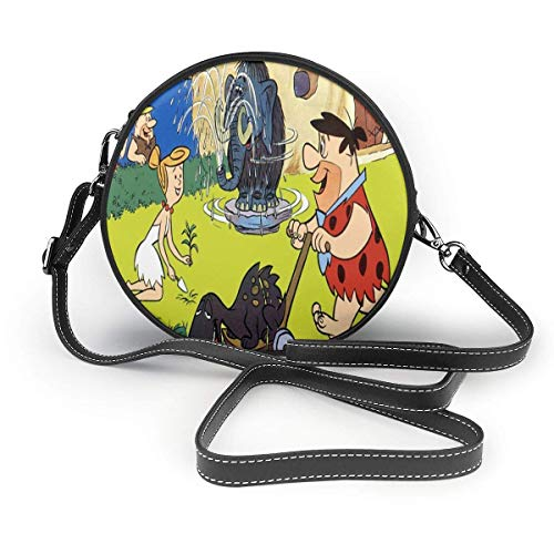 TV Show The Flintstones Crossbody Bags for Women Round Purse Coin Purse Multicolor Printing Phone Bags Purse with Removable Strap Microfiber Leather Round Bag