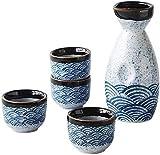 YWTT Juego de ollas de Sake de 5 Piezas, Juego de Vino de cerámica, Juego de ollas de Sake de Estilo japonés, Serie Sea Ripple, Material cerámico, 4 Tazas de Sake, 1 Botella de Sake