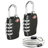 Aspen 4 Dígitos Combinación TSA Candado Más Alta Seguridad TSA Luggege Bloqueo con Cable de Acero para el Maleta Equipaje Viaje (Negro)