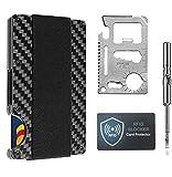 Minimalist Carbon Fiber Slim Wallet | RFID Blocking Front Pocket Wallet | Carbon Fiber Credit Card Holder | Metal Wallet...