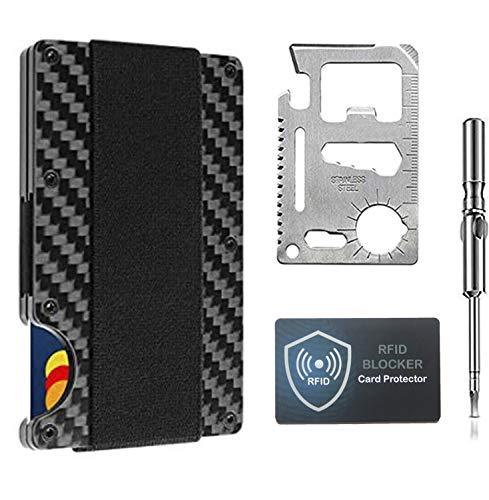 Minimalist Carbon Fiber Slim Wallet  RFID Blocking Front Pocket Wallet  Carbon Fiber Credit Card Holder  Metal Wallet Money Cash Clip